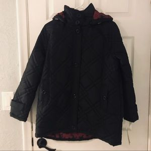 NWT KC Collections black hooded coat size small
